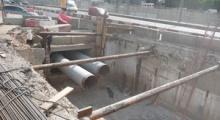 Усиление основания Нагатинского моста при перекладке теплотрассы под третьим транспортным кольцом TTК в Москве